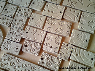 Test tile making by Katherine Fortnum