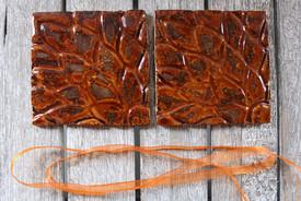 Coasters, set of 2, fiery red brown, han