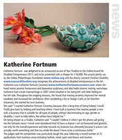 Katherine Fortnum, Craft & Design online article - Jan 2018, pg 26