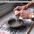 Slip trailing at Katherine Fortnum Ceramics