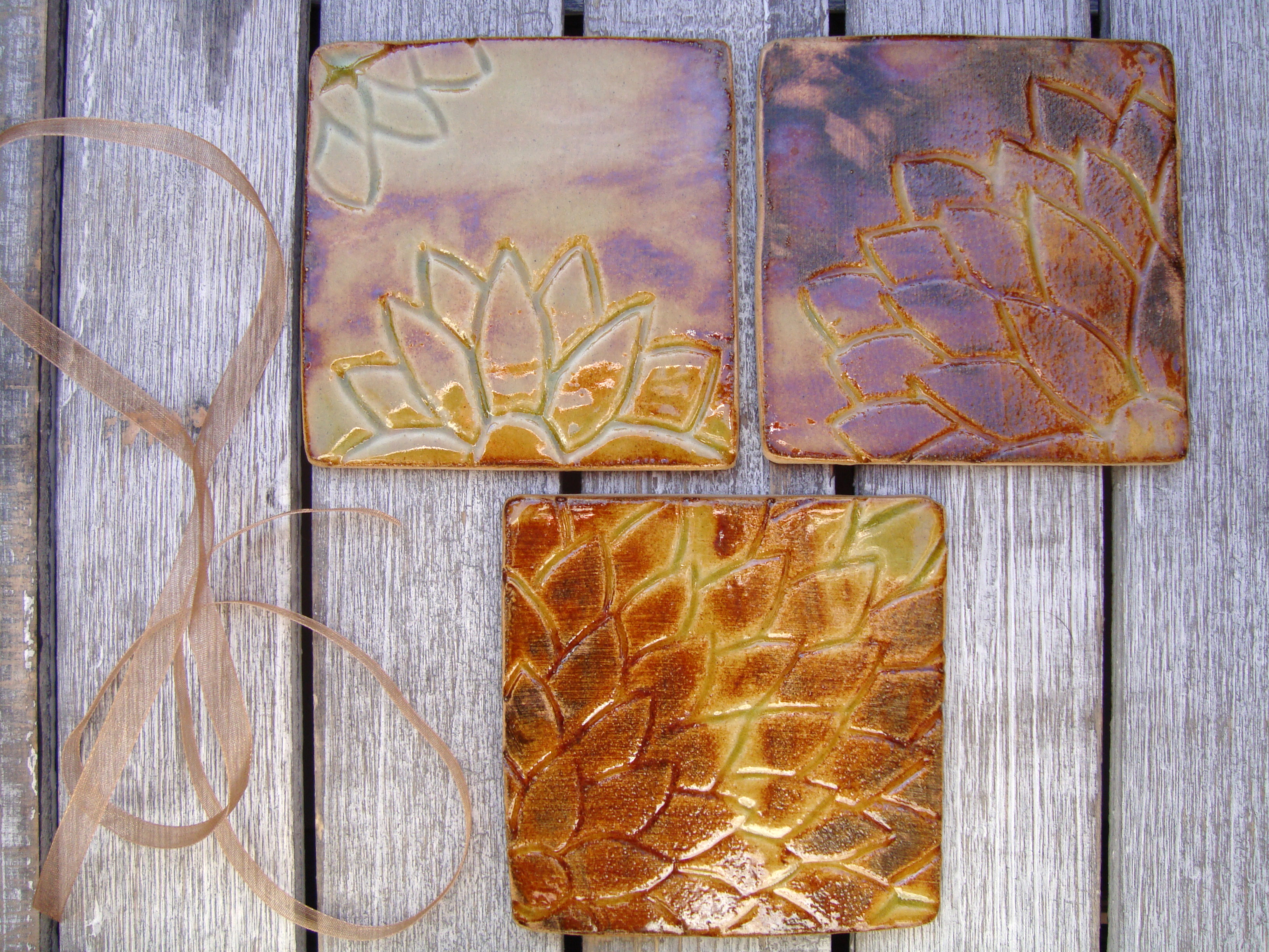 Rustic set of 4 coasters