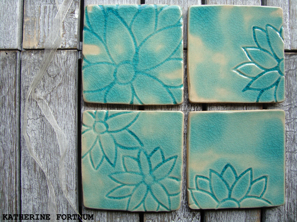 green crackle square set of 4 coasters, Hand made, White Stoneware, Katherine Fortnum, 2015