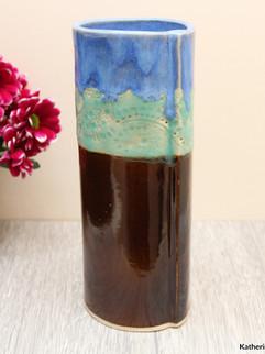 Tall Vase, tenmoku and ocean, white ston