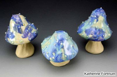 Ceramic Mushrooms, blue purple spikey 3 set, handmade, white stoneware, Katherine Fortnum 2017