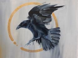 Crow Ring, Oil, 40x30cm, 2020, by Cat Bu