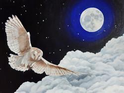 Owl Moon, Oil, 40x30cm, 2019, by Cat Bux