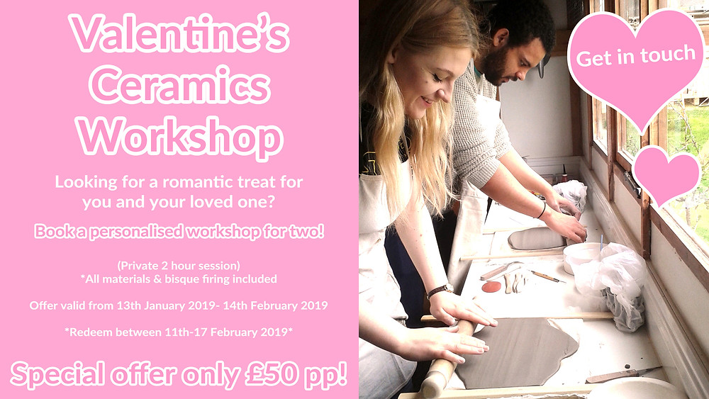 Valentines ceramics workshops at Katherine Fortnum Ceramics 2019