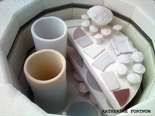 Inside a glaze kiln ready to be fired at Katherine Fortnum Ceramics Workshop, Market Harborough, Leicestershire