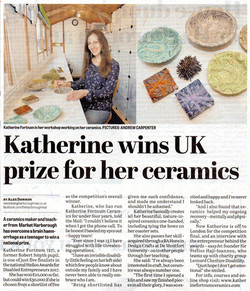 'Katherine wins UK prize for her ceramics', Harborough Mail, 02-11-17 pg 8