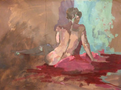 'Figure in Rose and Teal'