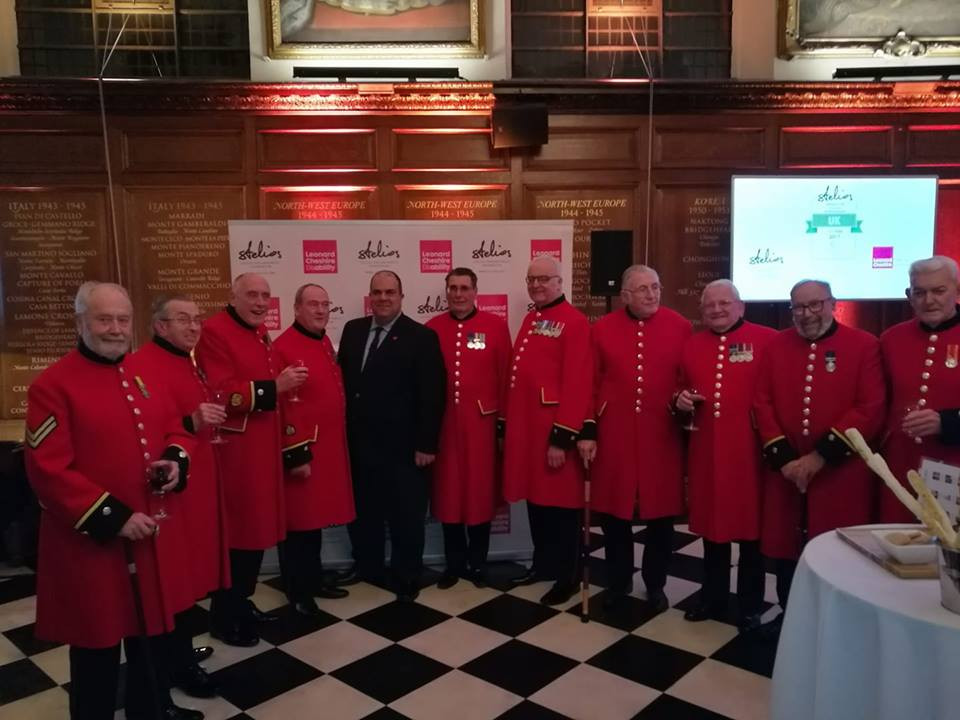 The Chelsea Pensioners with Sir Stelios at The Royal Hospital Chelsea, London, United Kingdom for the Stelios Awards for Disabled Entrepreneurs in the UK 2017