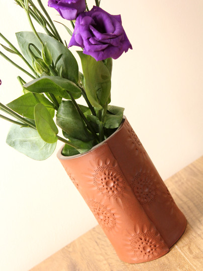 Terracotta  intricate series vase, terra