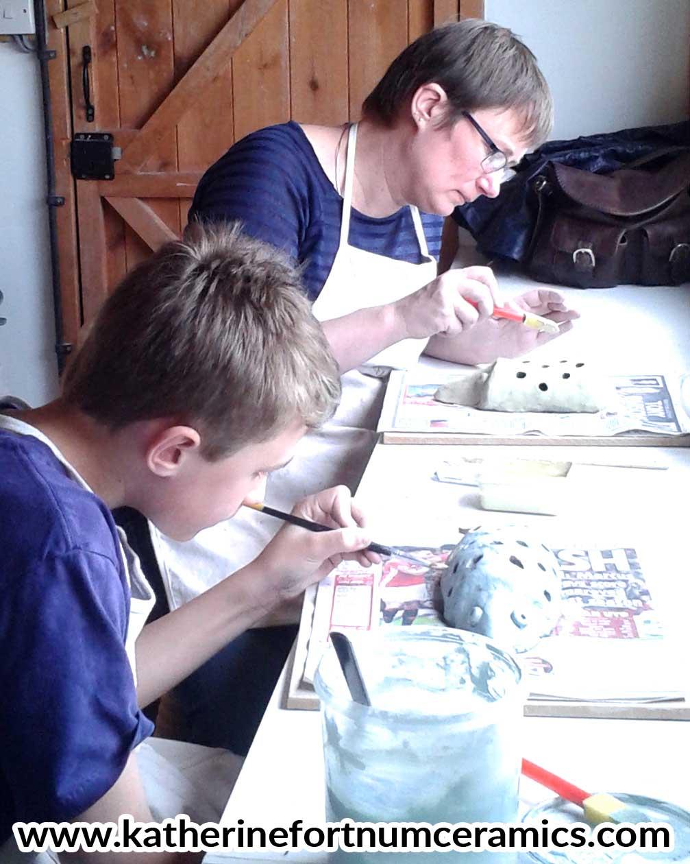 Mum and son workshop, at Katherine Fortnum Ceramius