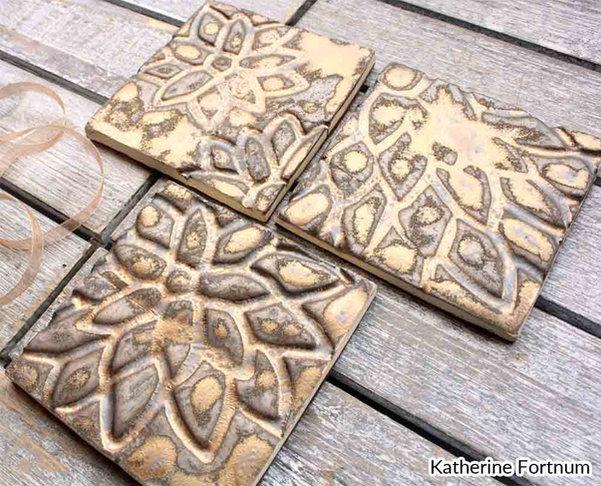 Ceramic coasters, set of 3, bronze, white stoneware, Katherine Fortnum, June 2017