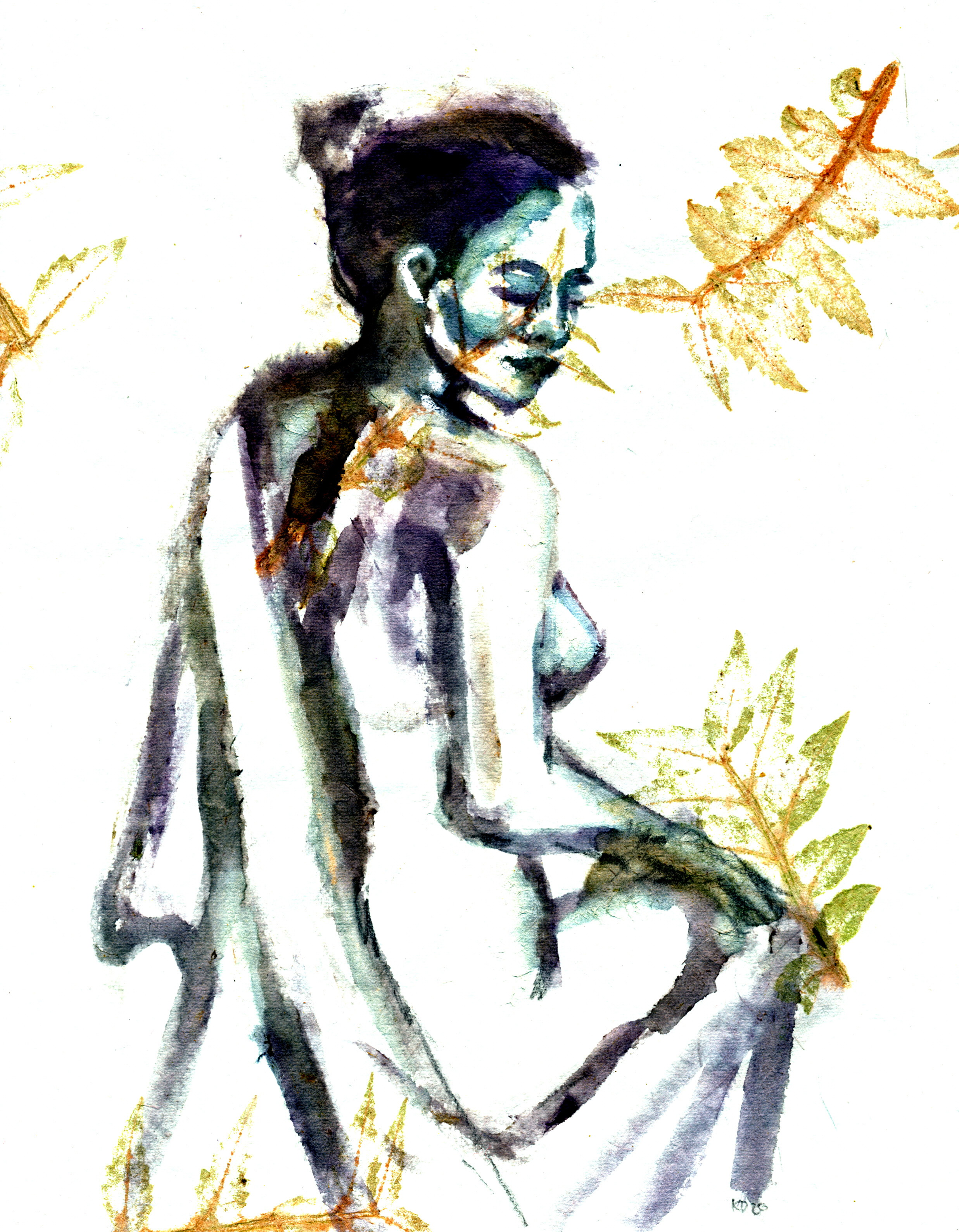 Anna- sitting- ink made from iris buds o