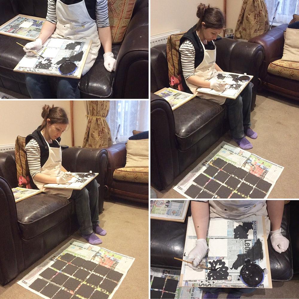 Katherine Fortnum glazing a coaster commission 2017