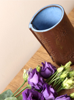 Blue and rich brown intricate vase, terr