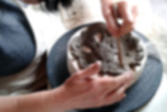 Decorative coiling at Katherine Fortnum Ceramics Workshop, Market Harborough, Leicestershire