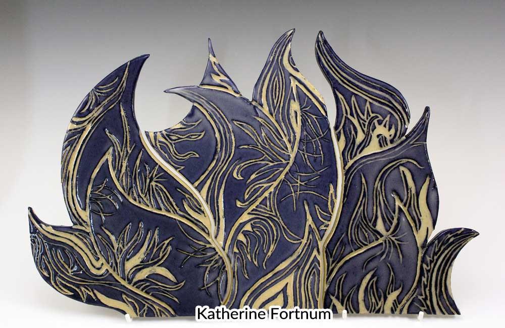 Ceramic tile backsplash, cobalt blue, ab