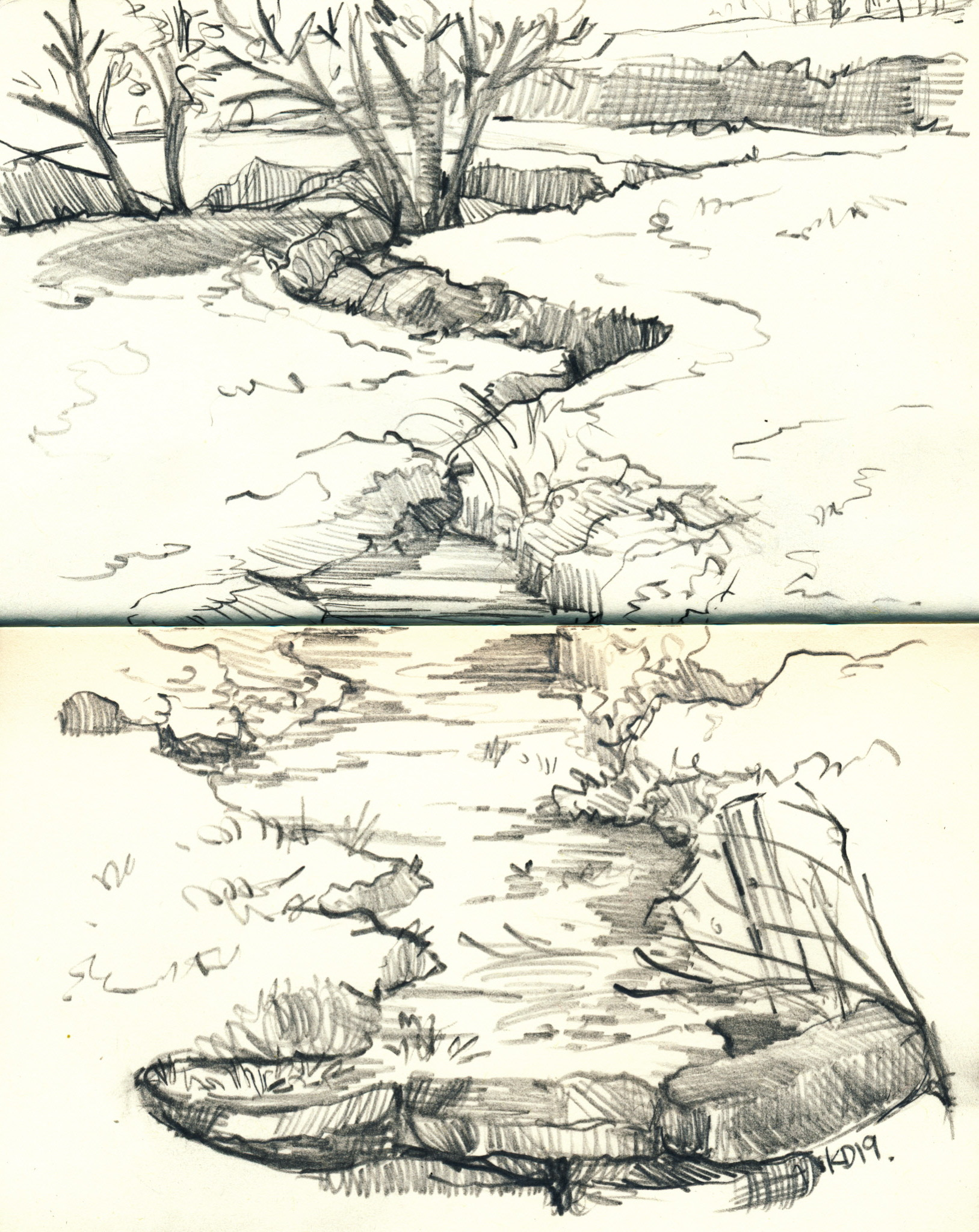 Sketch of Sidom Ford stream- Haddon Fiel