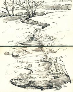 Sketch of Sidom Ford stream- Haddon Fiel