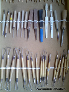 Ceramic tools, at Katherine Fortnum Ceramics Workshop, Market Harborough, Leicestershire