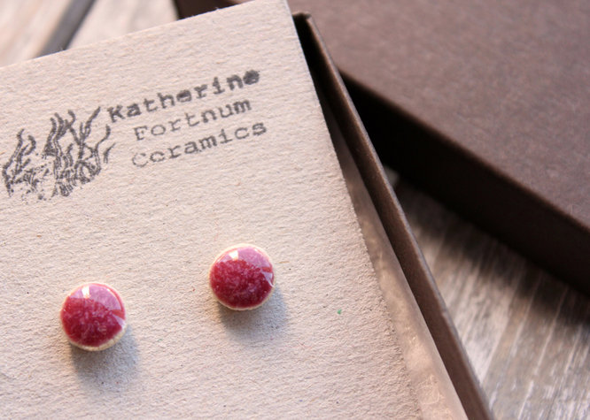 Ceramic stud earrings, fuscia, Sterling silver, hand made white stoneware, by Katherine Fortnum 2016