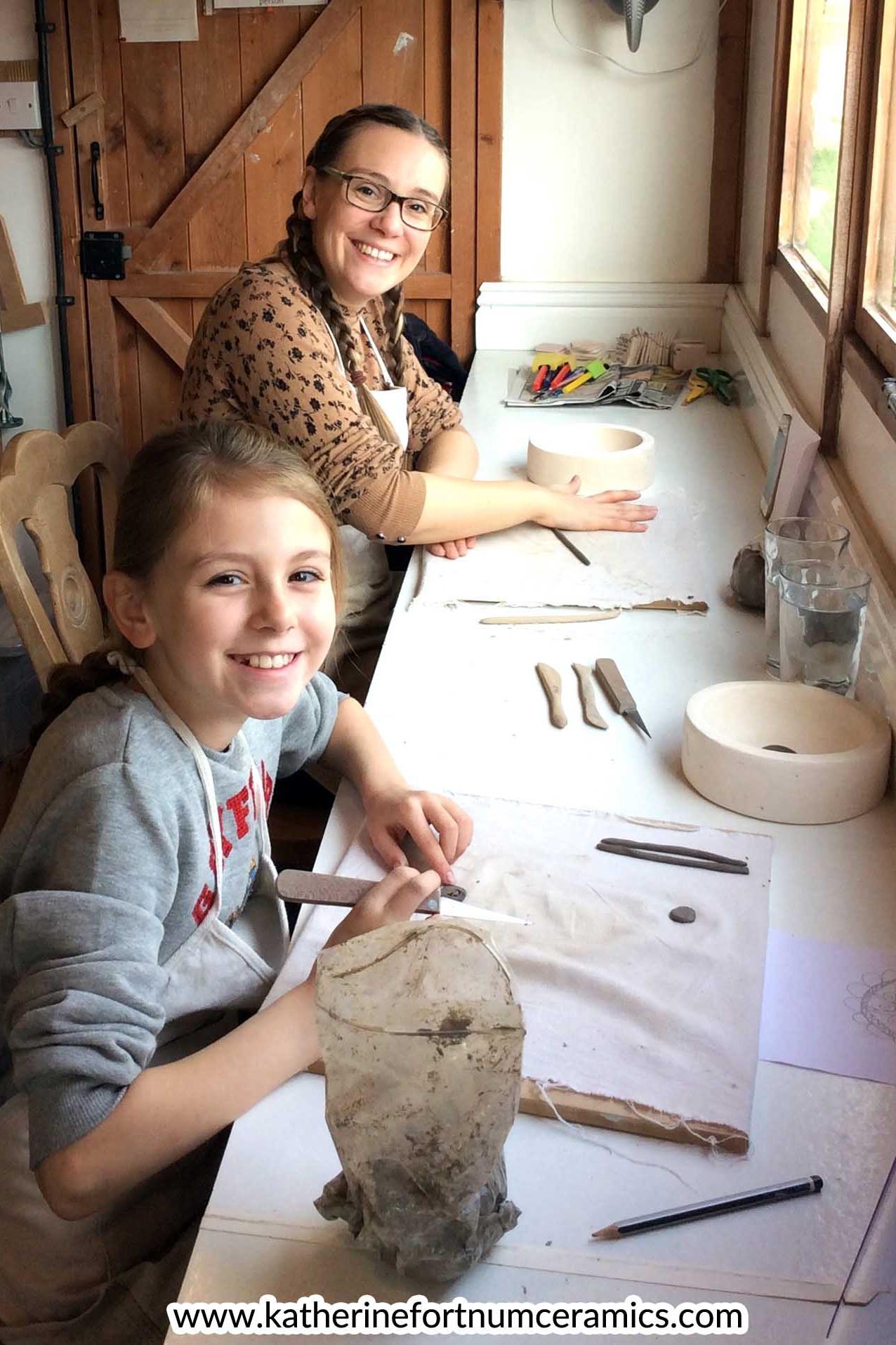 Mum and daughter workshop, at Katherine Fortnum Ceramics