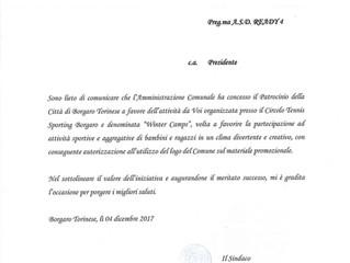 Ufficiale: la città di Borgaro T.se ha concesso il Patrocinio per i Winter Camps!