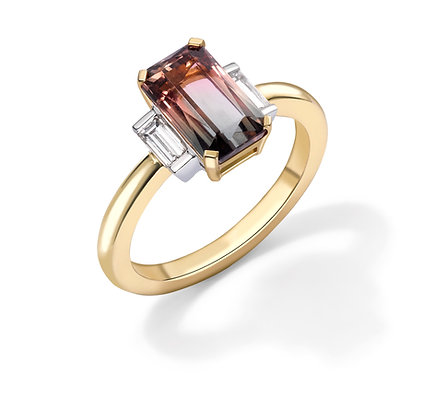 Bi Colour Tourmaline Ring