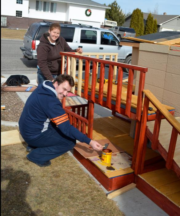 Staining the balcony staircase