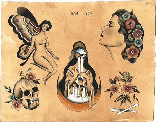 Tattoo Flash by Sam Sea