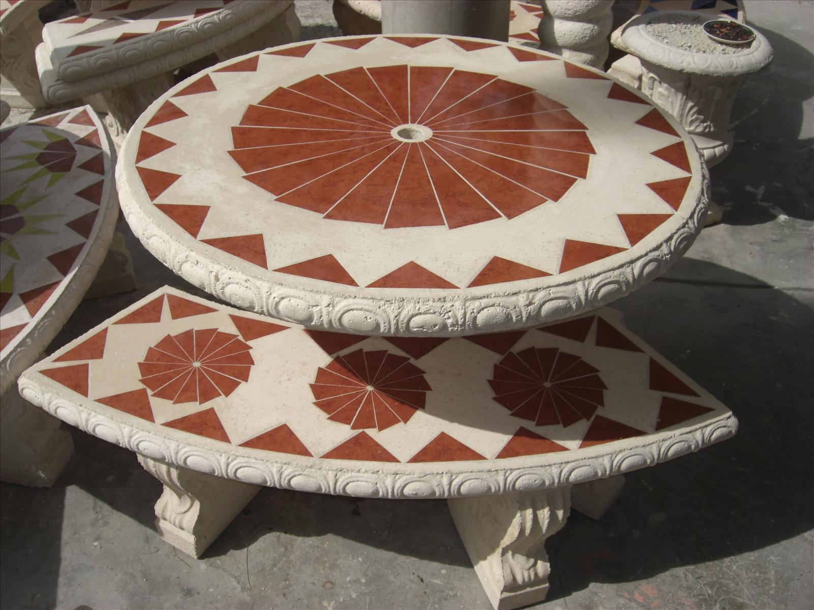 red tile table
