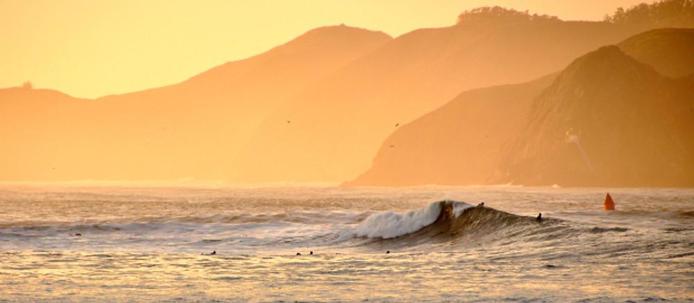 Surfing under Golden Gate