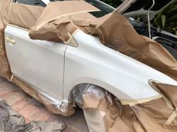 pearl white toyota prius fender and door autobody damage repaired