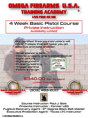 OMEGA FIREARMS USA TRAINING ACADEMY BASIC PISTOL COURSE SPECIAL - LIMITED TIME ONLY