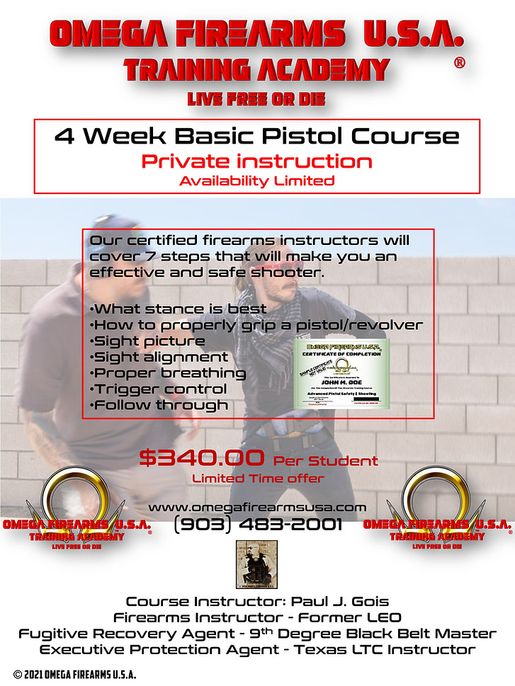 OMEGA FIREARMS USA TRAINING ACADEMY BASIC PISTOL COURSE SPECIAL 2021 - LIMITED TIME ONLY