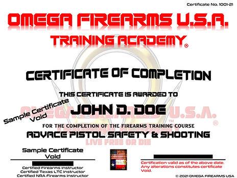 Omega Firearms U.S.A. Training Academy Pistol Course Certificate