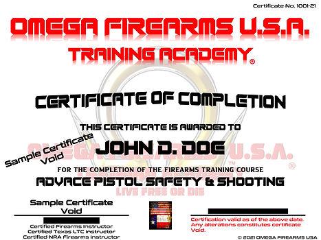 OMEGA FIREARMS USA TRAINING ACADEMY FIREARMS TRAINING CERTIFICATE