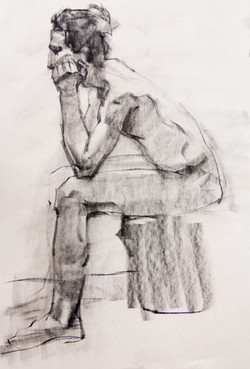 Drawing - Male Sitting - Charcoal