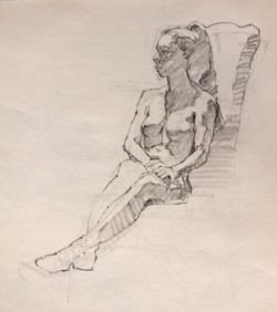 Young Woman in Chair - Pencil