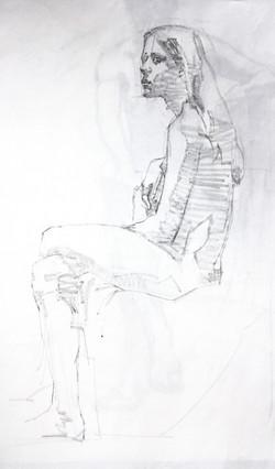Sketch Female Model Sitting - Pencil