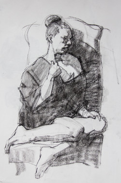 Study Female Model in Chair - Charcoal