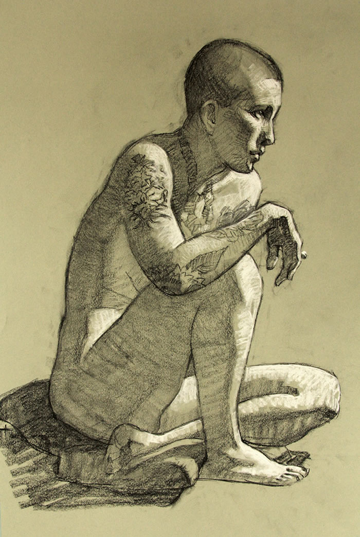 Tattoos - Charcoal with white chalk on toned paper.