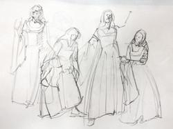 Gestures Costumed Model - Pencil