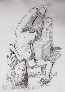 Drawing Supine Young Woman - Pencil
