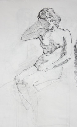 Sitting Young Woman - Pencil