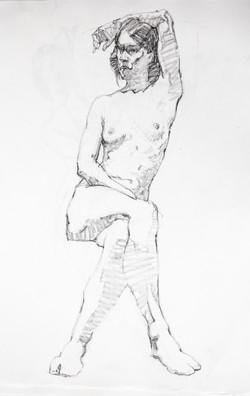 Female Model Sitting - Pencil