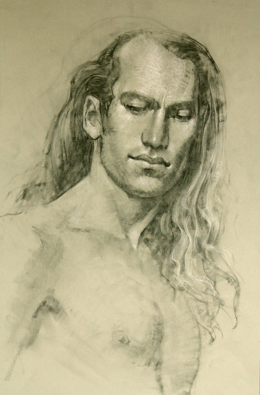 David - Charcoal with white chalk on toned paper