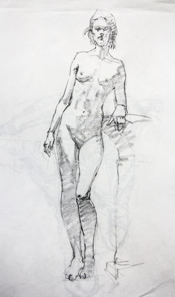 Female Model Standing - Pencil